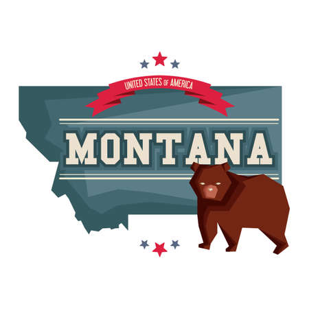 grizzly bear: Montana map with grizzly bear