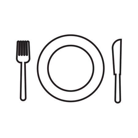 plate setting: Plate setting with fork and knife