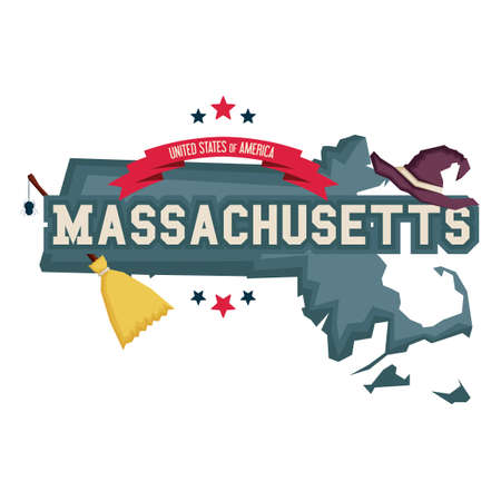massachusetts: Massachusetts map with with hat and broom