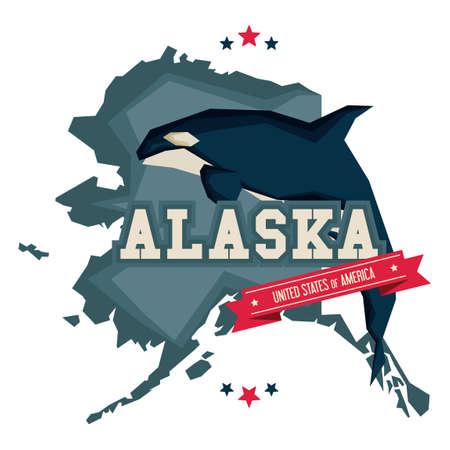 Alaska map with killer whale 版權商用圖片 - 43304410