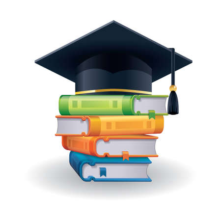 Mortarboard with books