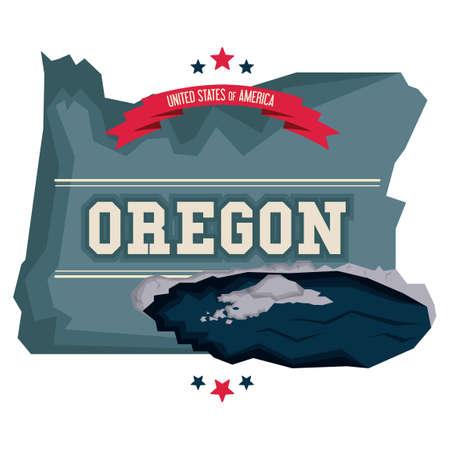 火口湖とオレゴン州地図  イラスト・ベクター素材