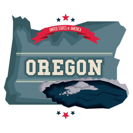 Oregon map with crater lake