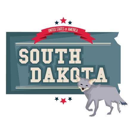 coyote: South dakota map with coyote Illustration