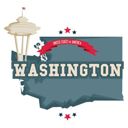 space needle: Washington map with space needle