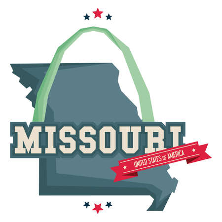 arch: Missouri map with st louis gateway arch Illustration