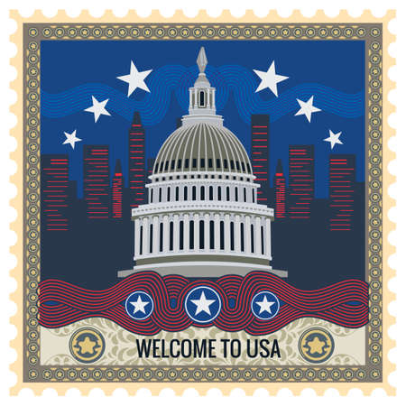 sello postal: Bienvenido a EE.UU. sello de correos