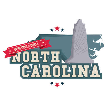 wright: North carolina map with wright brothers memorial