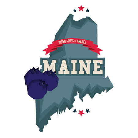 maine: Maine state with blueberries Illustration
