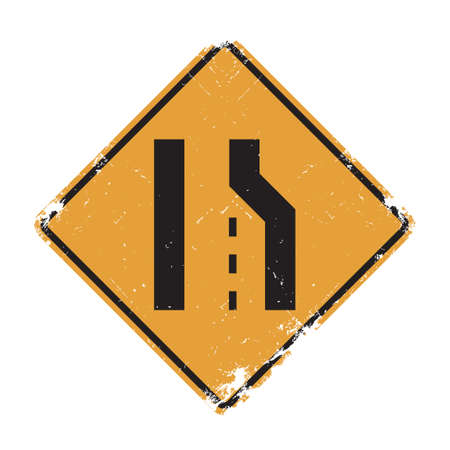slow down: Right lane ends sign