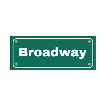 street signs: NYC Broadway street name sign Illustration