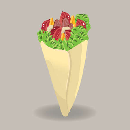 pita bread: Pita bread wrap Illustration