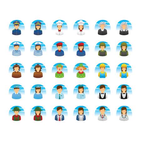 female judge: People icon set Illustration