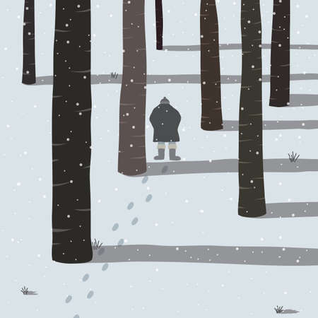 alone man: Man walking in the snow