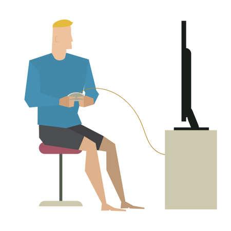 playing video game: Man playing video game
