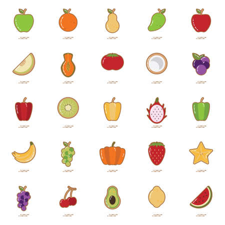 purple grapes: Set of fruit and vegetable icons Illustration