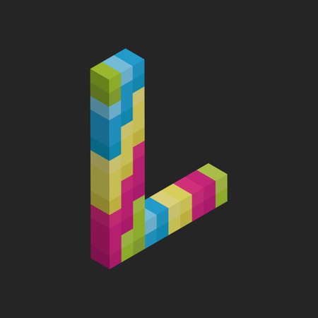 l: Isometric alphabet L Illustration