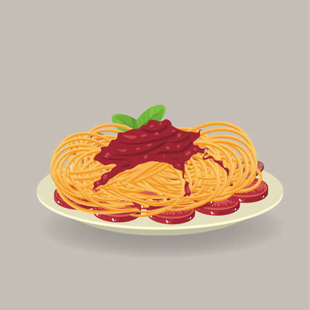 bacon strips: Plate of spaghetti with bacon strips