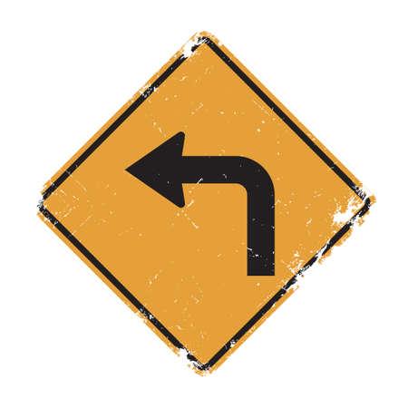 turn left sign: Turn left sign Illustration
