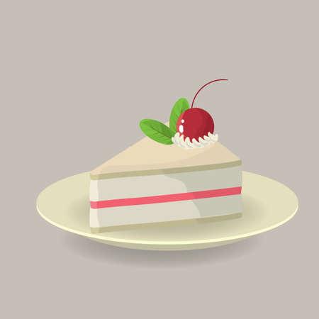 cake slice: Cake slice with cherry on top Illustration