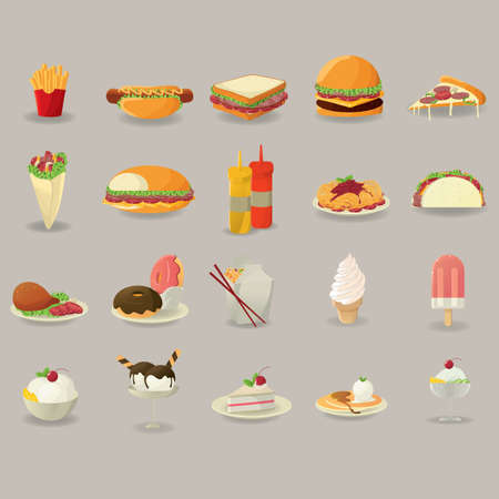 pita bread: Set of food icons
