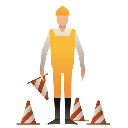 traffic cone: Man holding traffic cone