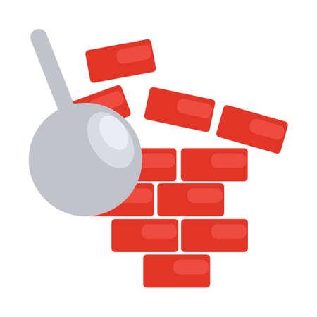 demolish: Wrecking ball breaking the wall