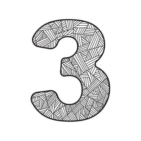 numerical value: Number three Illustration