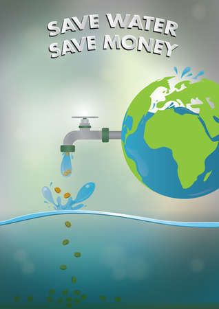 save money: Save water save money poster