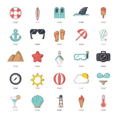 surfboard fin: Set of summer icons
