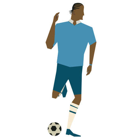 kicking: Soccer player kicking the ball