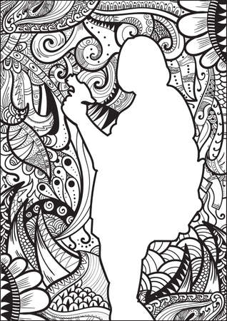 silueta humana: Dise�o de la silueta humana Zentangle Vectores