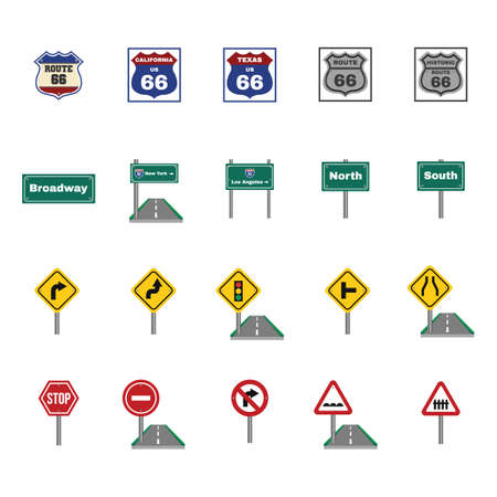curve ahead sign: Set of road sign icons Illustration