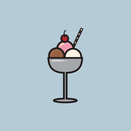 ice cream sundae: Ice cream sundae with wafer stick and cherry Illustration