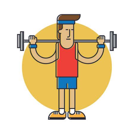 man lifting weights: Man lifting weights Illustration