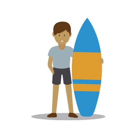 surf board: Ni�o con tabla de surf Vectores
