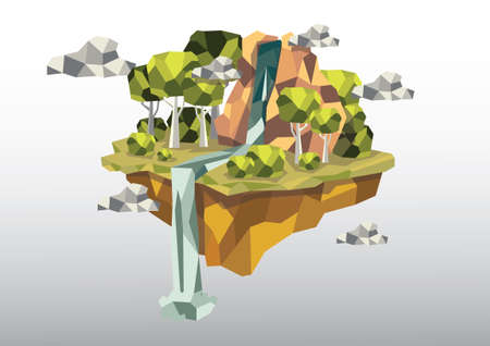 waterfall: Floating island with waterfall