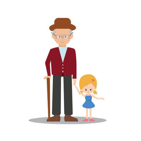 Old man holding little girl Ilustração