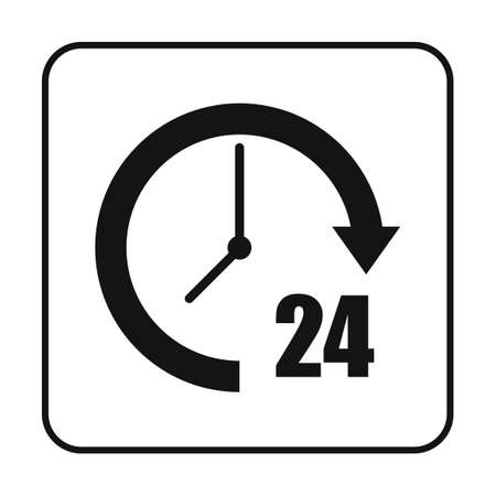 24 hours: 24 hours support Illustration