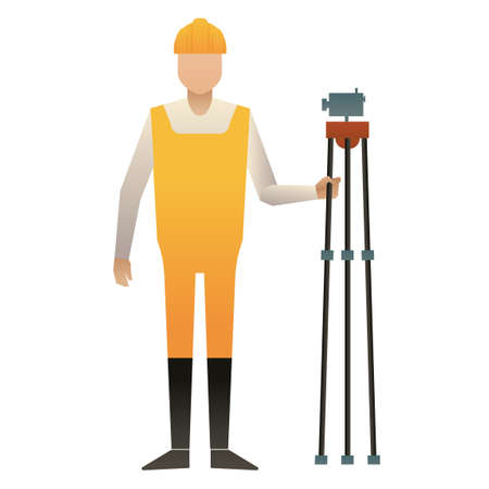 surveyor: Man holding land surveyor