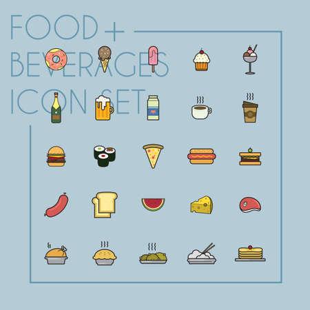 icecream sundae: Set of food and beverages icons