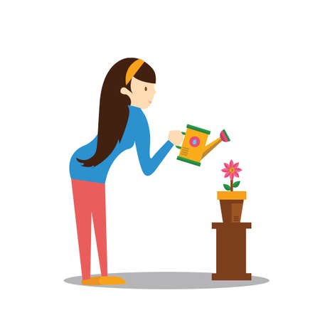 watering plant: Girl watering plant Illustration