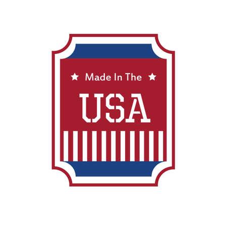 em: Feito no projeto da etiqueta EUA