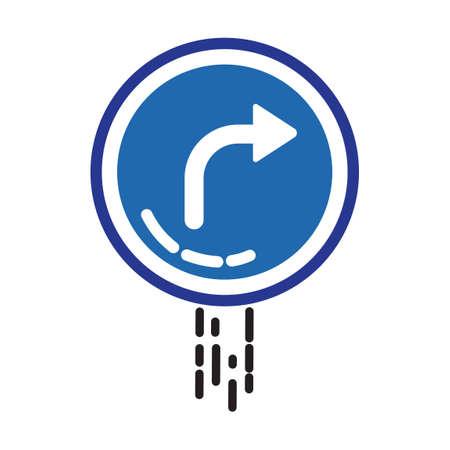 slow lane: Right curve sign Illustration