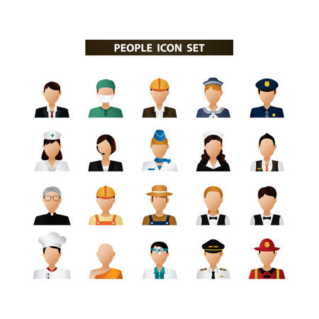 People icon set Stock Illustratie