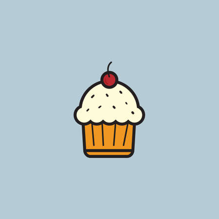 topping: Cupcake with cherry topping Illustration