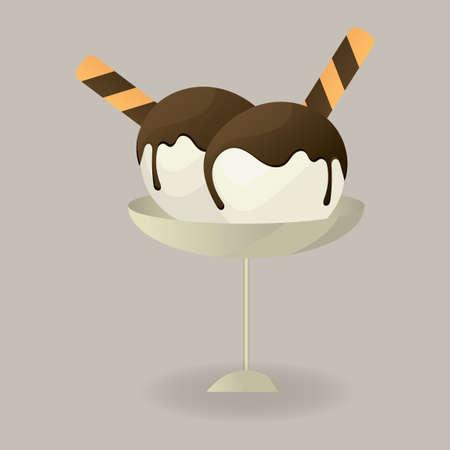icecream sundae: Ice-cream sundae with love letters Illustration