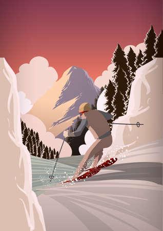 Man snow skiing Vectores