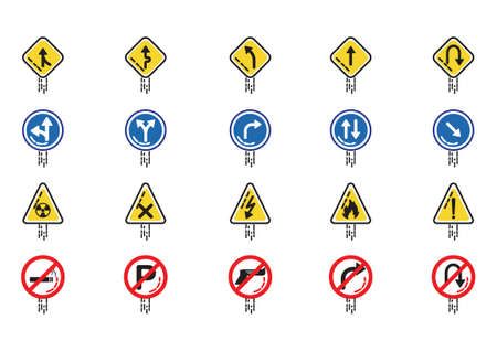 one lane street sign: Set of road sign icons Illustration