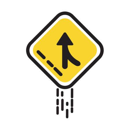 slow lane: Merge sign